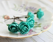 Teal Blue Garden Rose Bobby Pins. White Rose, Woodland. Whimsical. Wedding, Summer, Spring, Bridal Hair Clip, Floral, Hair Accessories. - rosesandlemons
