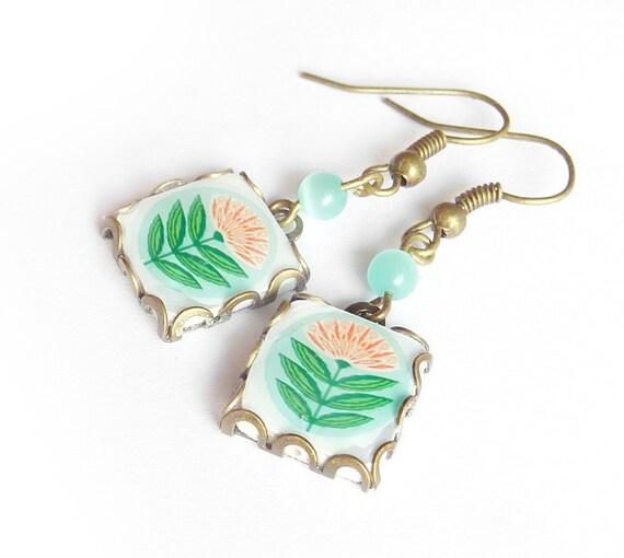 Springtime Scandinavian pattern tile earrings. Nordic flower. Mint and white scandinavian flower. Christmas gift