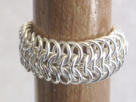 Two Ringy Dingy Ring Chainmaille Sterling Silver Plated