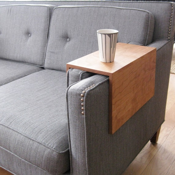 Couch Arm Wrap - SOLID WOOD custom arm drink rest laptop table for straight arm sofa