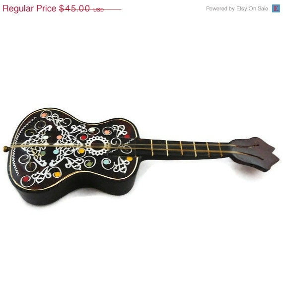 "50% OFF Vintage Bakelite Guitar Music Box with Floral Inlay ""Lara's Theme"""