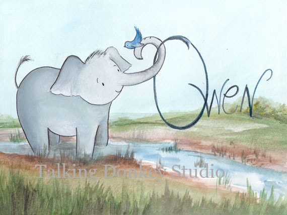Baby Elephant zoo boy girl nursery kids by talkingdonkeystudio