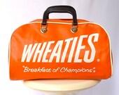 """Vintage Wheaties Orange Vinyl Duffle / Bowling Bag -- """"Breakfast of Champions"""" - ModLoungeVintage"""