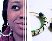 Geometric Handmade Coiled Hoop Earrings with Suede Lace and Sisal Rope in Yellow, Blue and Green