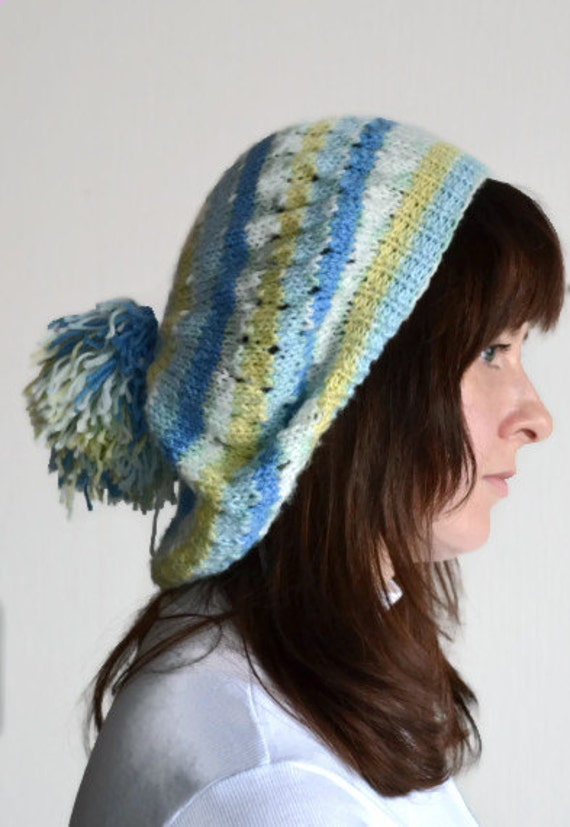 Slouchy hat, knit beret, oversized hat, yellow, blue, white, women, teen, hat, beanie, fall, winter, spring