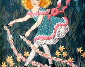 Lovely Girl With May Day Flowers.  MAY DAY Vintage Illustration. DIGITAL  Download. Vintage May Day Print. - DandDDigitalDelights