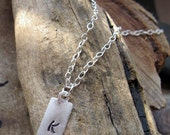 Initial Tag Necklace - Personalized Men's Pendant - Hand Stamped Charm on Sterling Silver Chain - NadinNecklaces