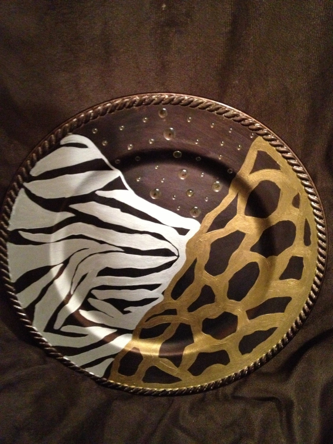 Animal Print Serving Plate Tribal by UncivilizedCreations on Etsy