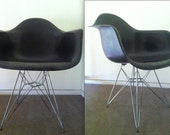 EAMES BLACK FIBERGLASS armchair Herman Miller embossed armshell extremely rare Mad Men mid century chair - TheAvidDiva
