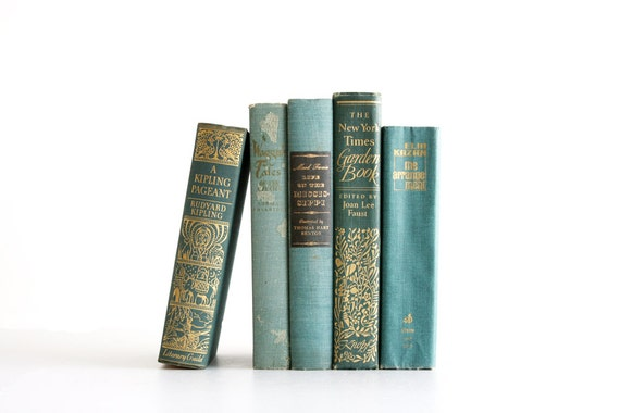 Antique Teal Book Collection - Vintage Spring Decor - Shabby Chic - Aqua Teal Green - Vintage Books - Mark Twain Kipling