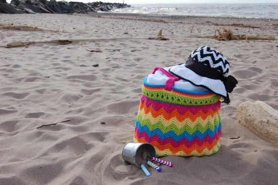 "Crochet Pattern: ""Chasing Chevrons"" Yarn & Beach Bag, Permission to Sell Finished Items"