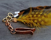 Copper Hair Clip, Braided Faux Leather, Golden Feather, Copper Barrette, Tribal, Ethnic Hair Jewelry