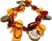Amber Beadwork Bracelet with Glass Beads - maluendadesign