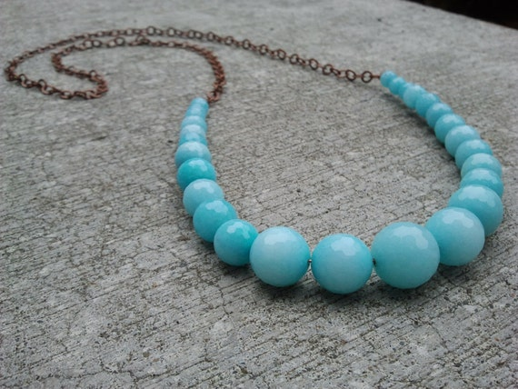 Robins Egg Blue Beaded Necklace with Copper Chain