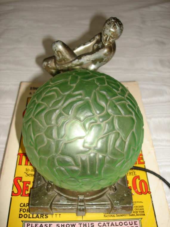 1920's Original Frankart Nude Boudior Lamp Green Brain Globe Art Deco Lady Light Pete The Geek