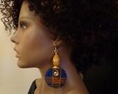 Kente Fabric Wood Earrings, Ethnic Jewelry, African Jewelry, Fabric Earrings