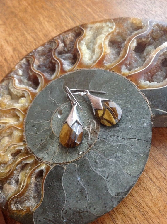 Sterling Silver and Tiger Eye Earrings RubeeBlue on Etsy