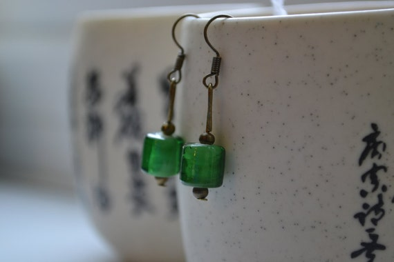 Glass Bead Earrings - Lovely Green Glass Bead Brass Hook Earrings