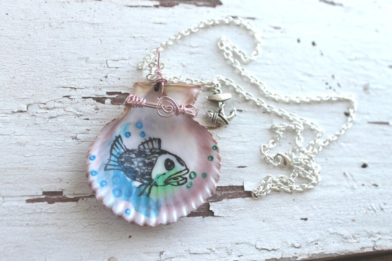 Fish Necklace - Hand Painted Seashell