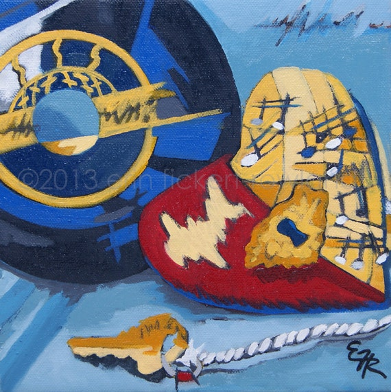 Modern Abstract Vinyl Record Still Life Painting- Key to the Heart- Original Oil on Canvas by Erin Fickert-Rowland