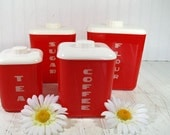 Red & White BoHo Nesting Canister Set - Retro Plastic Matching Collection - Vintage LustroWare Graduated 8 Piece Storage