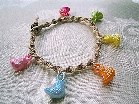 Macrame Bracelet with Acrylic Pastel Chick Charms