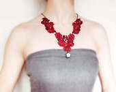 lace necklace beaded  dark red flower venise vintage gothic victorain medieval rose polymer clay