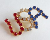 Patriotic Fourth of July Vintage 1960's USA Rhinestone Pin Brooch in Red White & Blue - VanityFlairVintage