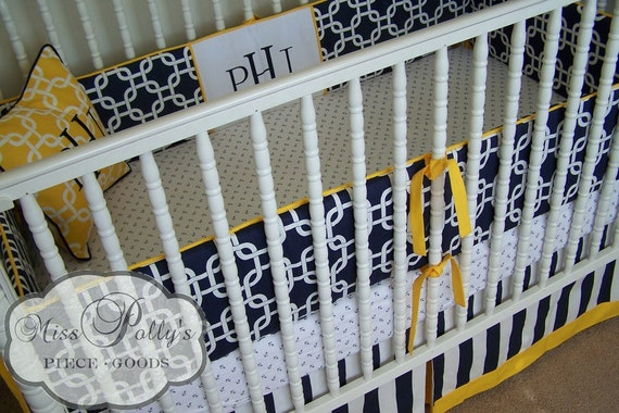 Custom Baby Crib Bedding -Design Your Own-  Modern Classic- Navy and white- DELUXE