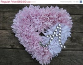 "FLASH SALE Ready to Ship --- 15"" Handmade Zinnia Rag Wreath ---  Shabby Chic Heart with Letter of Your Choice"