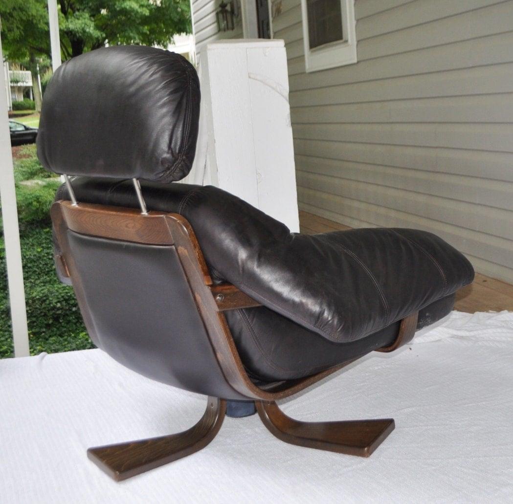 danish scandinavian black leather lounge chair mid century modern eames era ebay. Black Bedroom Furniture Sets. Home Design Ideas