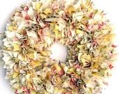 "FLASH SALE Ready to Ship --- 16"" Handmade Zinnia Rag Wreath --- Shabby Chic Yellow and Cream"