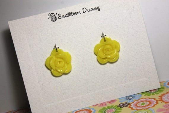 Yellow with Gold Glitter Polymer Clay Pendants/Charms(Set of 2)