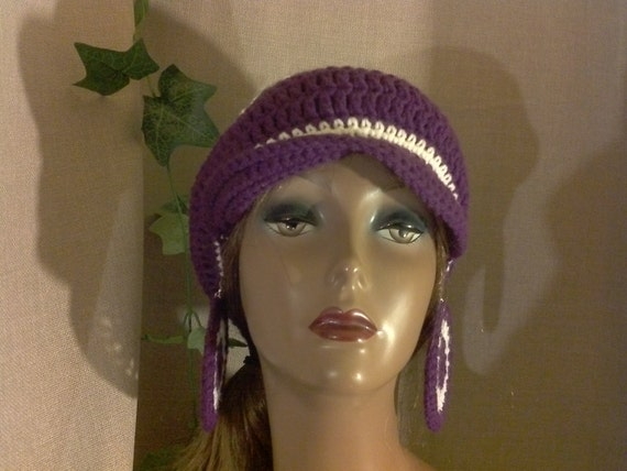 Crochet Newsboy Hat & Earrings