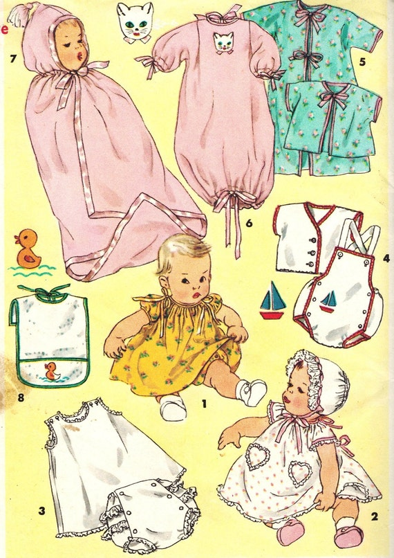 Simplicity 1443 UNCUT Vintage 50s Adorable Baby Infant Layette Sewing Pattern with Embroidery Transfer One Size
