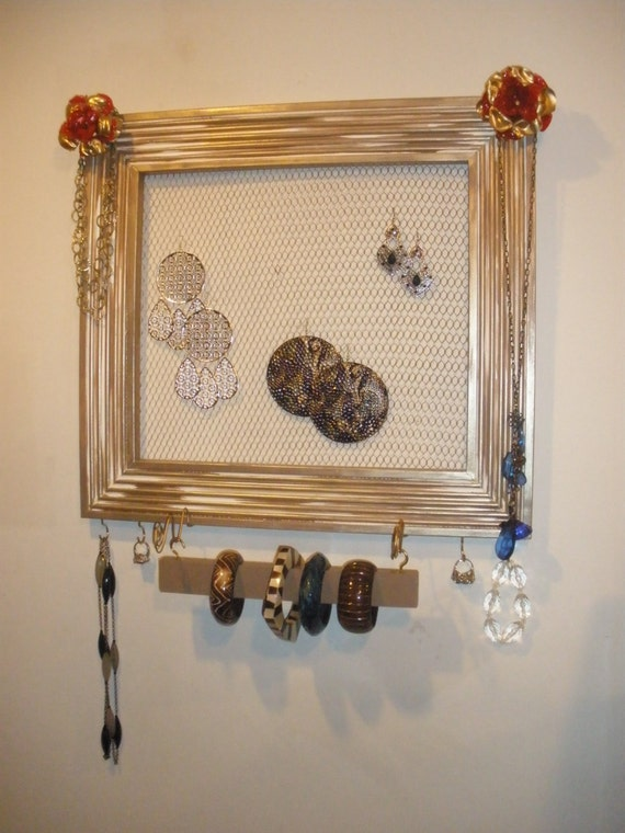 "Jewelry Organizer Display Rack Picture Frame - 20"" x 21 7/8"" Large, Earring Organizer, Picture Frame Organizer"