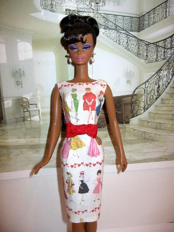 Silkstone OOAK Retro styled sheath dress w. vintage Barbie illustrations NEW