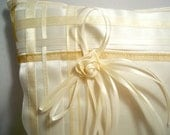 Ring Pillow, Cream Satin, Thick and Thin Ribbons, Small Square
