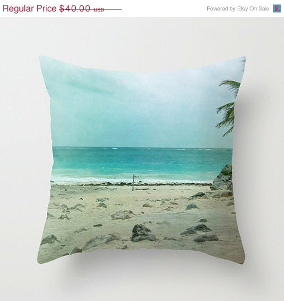 SALE - Christmas In July Tulum Ombre Seascape, Home Decor Throw Pillow - Cover Only -Beach Escape  International Travel - LoudWaterfallPhoto