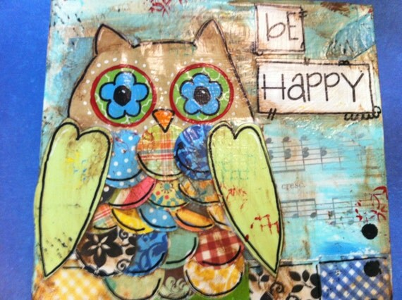 "6x6 hand painted canvas ""be Happy"" Owl"