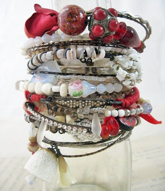 Build a Fire. Red and White Rustic Gypsy Bangle Stack, bracelet set.