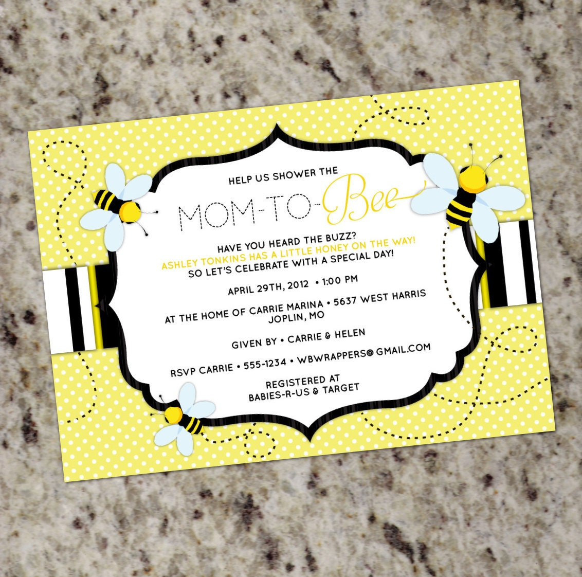 "BEE THEMED - Baby Shower Invitation - Mom to ""Bee"" - Printable Design"