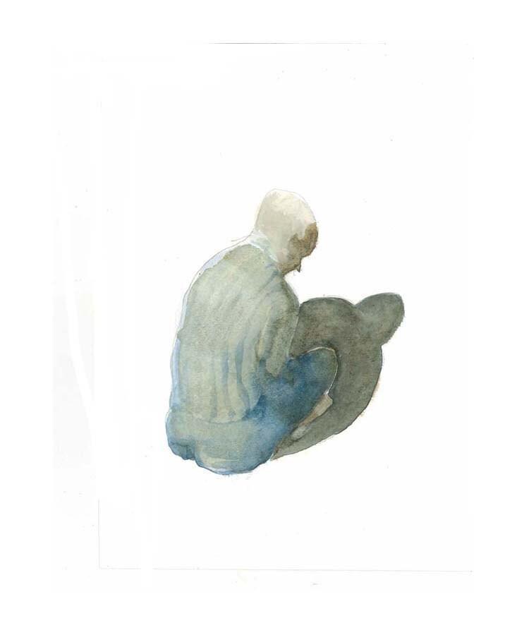 original watercolor painting,  figurative, MEDITATION, man - marina826