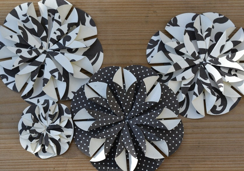 Flower Embellishments Black White Patterned - Set of 10 Scrapbooking Bow
