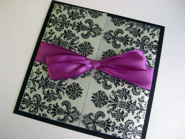 Elegant Black Damask Gate Fold Wedding Invitation in metallic silver paper