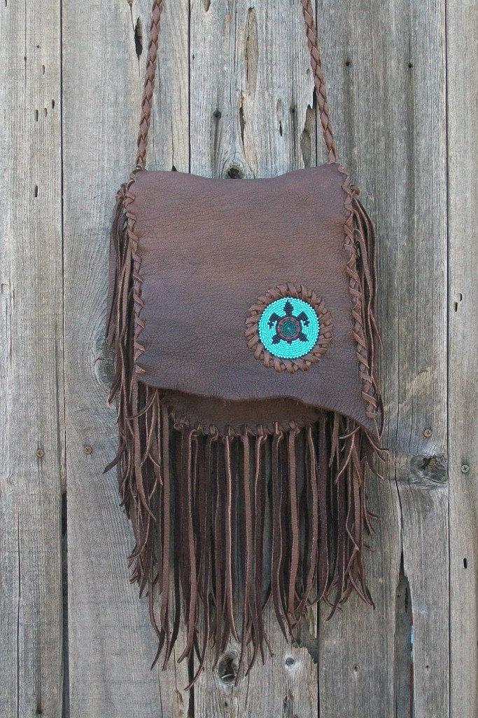 Fringed leather handbag Bohemian gypsy crossbody purse with beaded turtle totem Handmade leather crossbody bag with lots of fringe - thunderrose