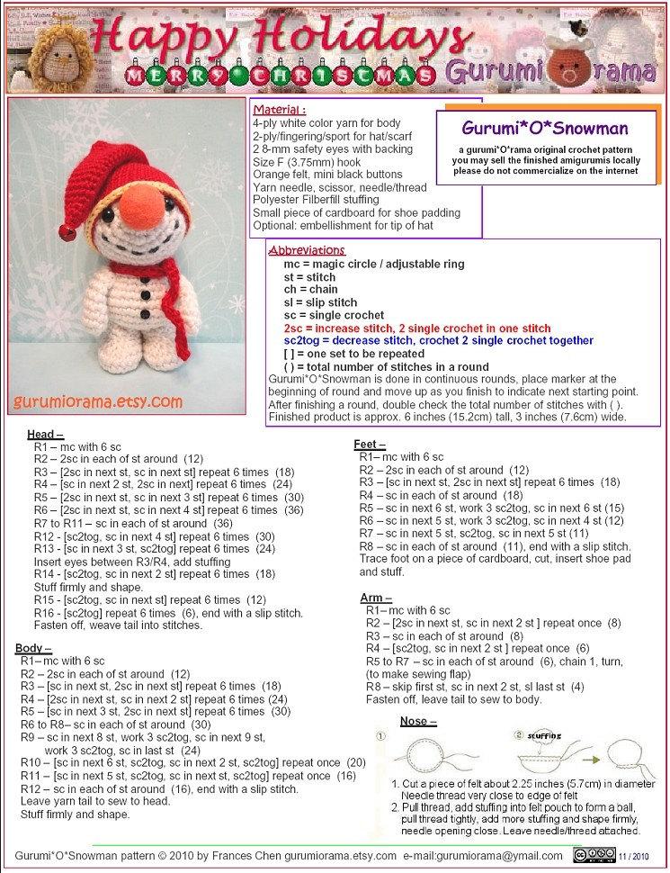 Snowman crochet pattern. Free Christmas patterns.