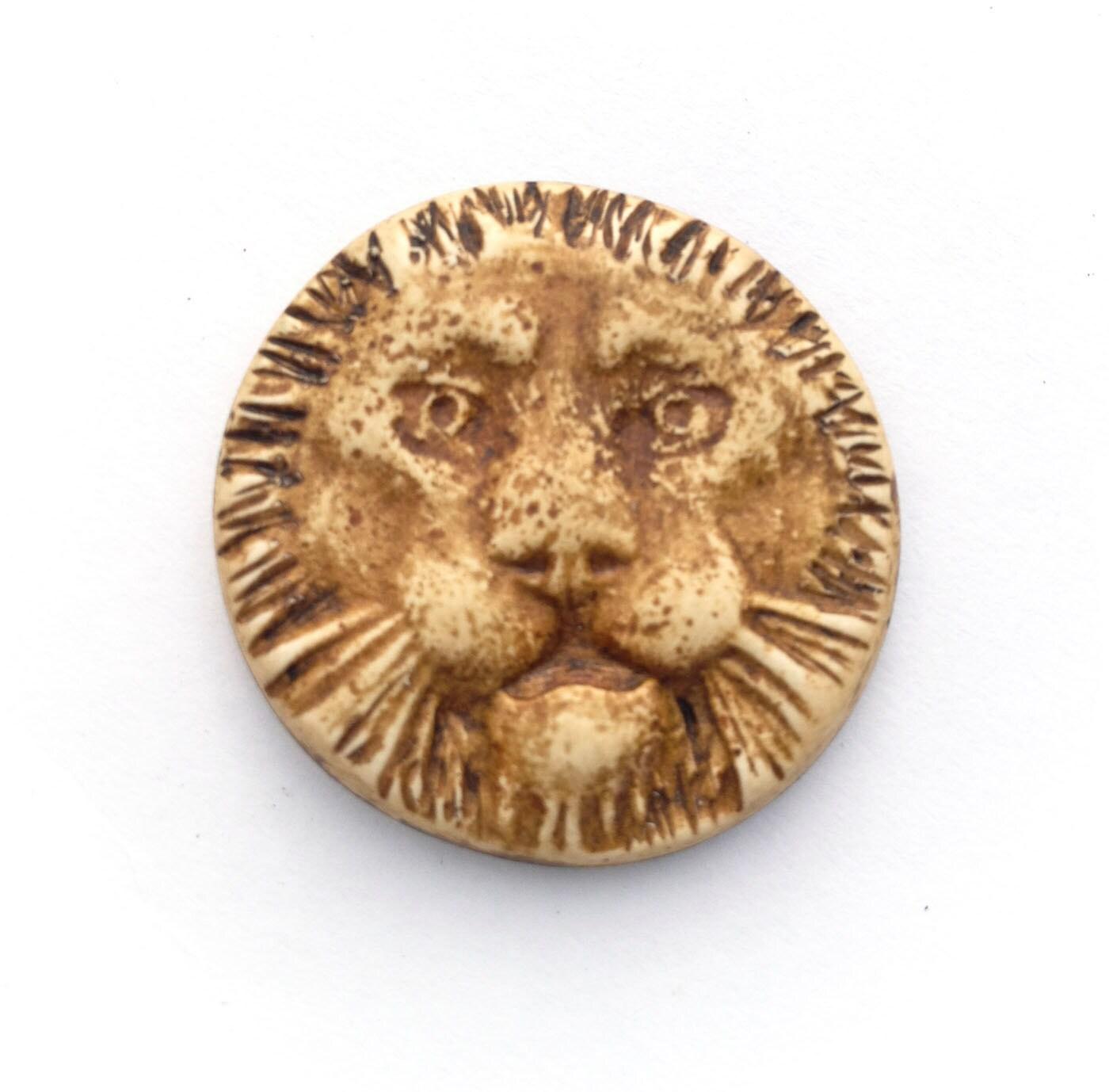 Lion Face Polymer Clay Pendant - Distlefunk2