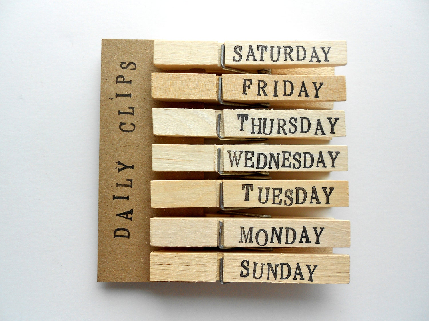 Days of the Week Clothespins - Hand Stamped - Set of 7 - Large - Free US Shipping