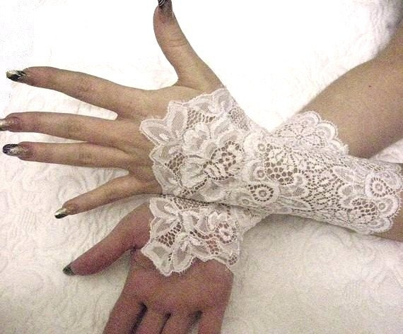 ROMANTIC white bridal lace cuffs French lace bridal gloves victorian cuffs